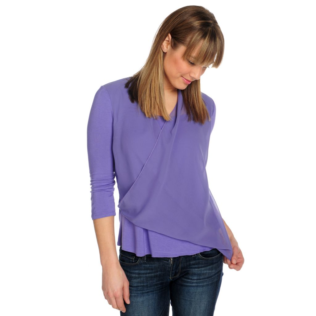 715-491 - One World Chiffon Knit Combo 3/4 Sleeved Faux Wrap Top