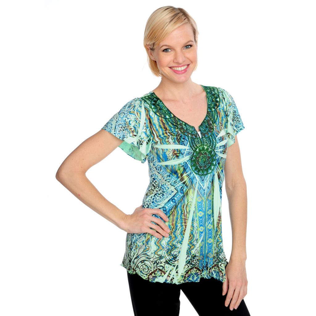 715-493 - One World Micro Jersey Flutter Sleeved Lace Applique Embellished Top