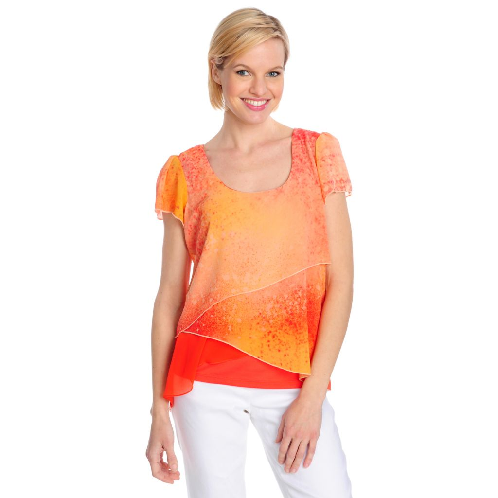 715-495 - One World Chiffon Flutter Sleeved Tiered Top w/ Knit Tank