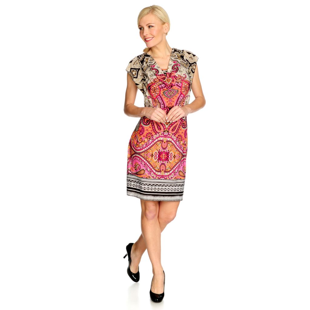 715-501 - One World Stretch Knit Flutter Sleeved Drape Neck Printed Dress