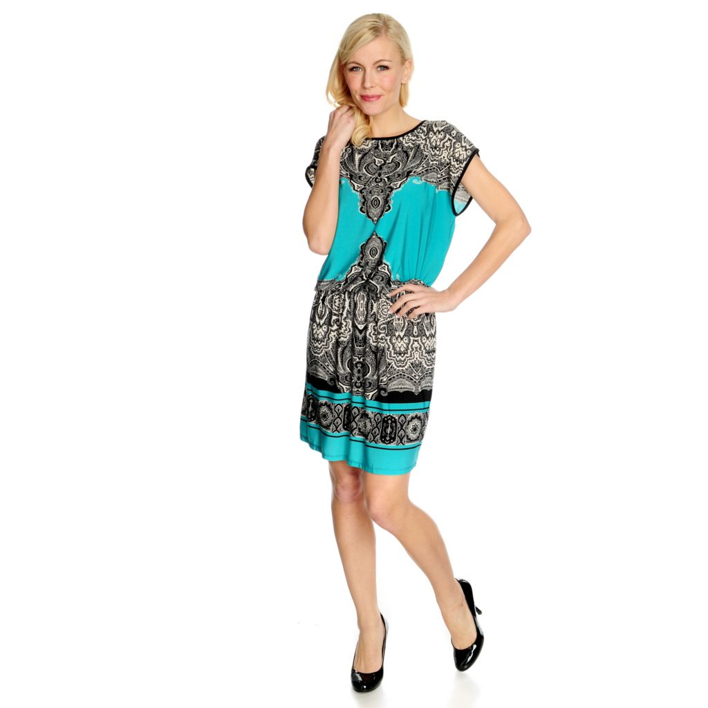 715-502 - One World Stretch Knit Cap Sleeved Boarder Print Blouson Dress