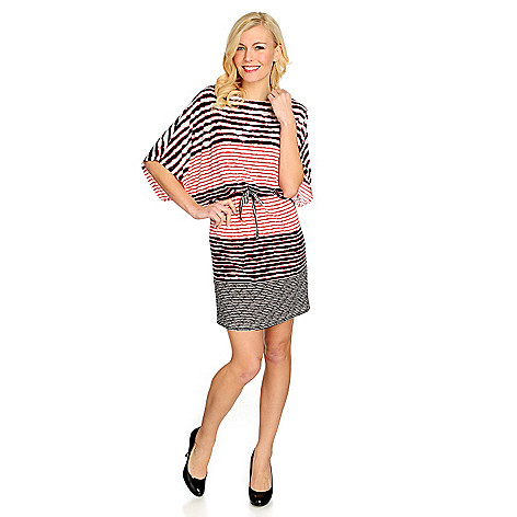715-503 - One World Stretch Knit Convertible Sleeve Tie Waist Blouson Dress
