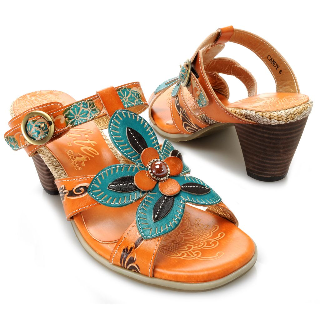 715-504 - Corkys Elite Hand-Painted Leather Flower & Bead Detailed Slip-on Sandals