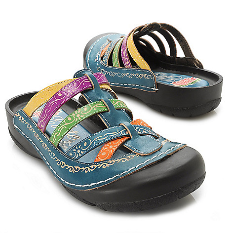 715-505 - Corkys Elite Hand-Painted Leather Bump Toe Clog-Style Slip-on Sandals