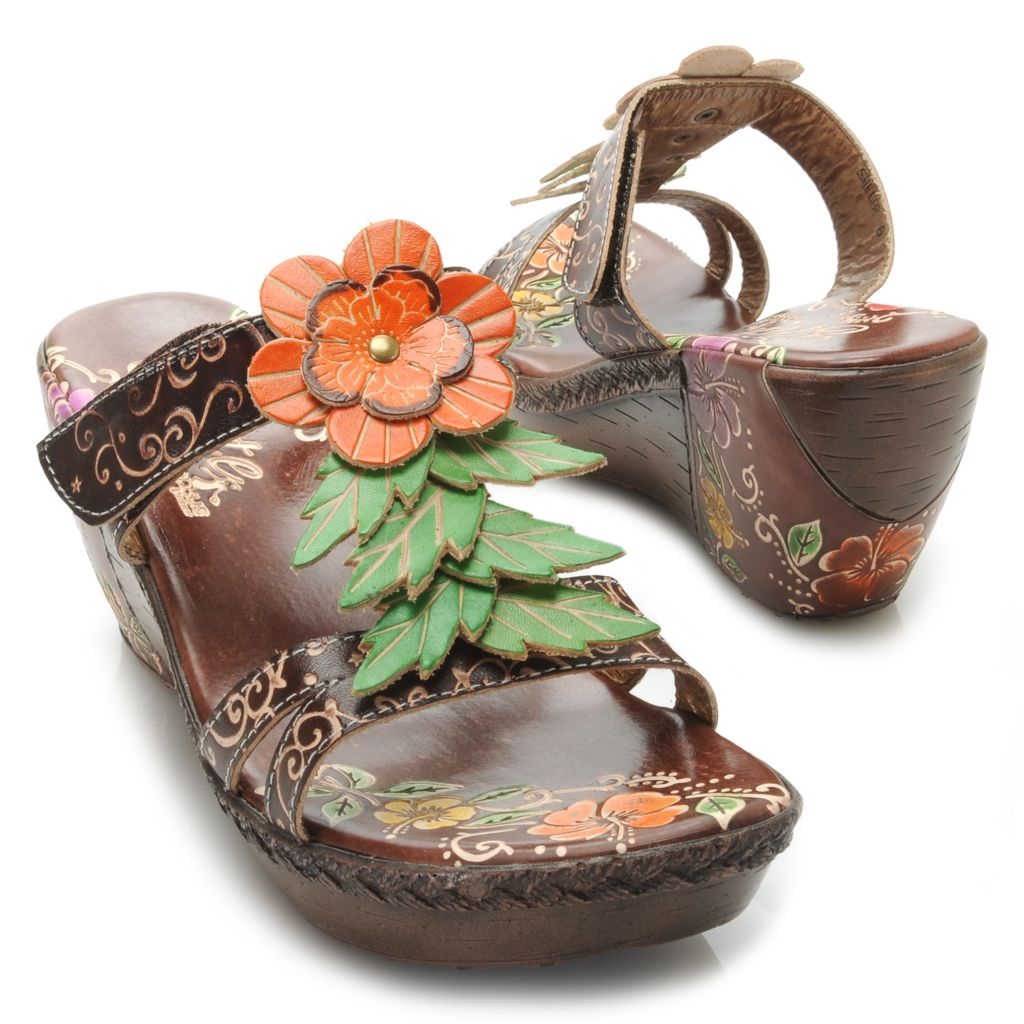 715-507 - Corkys Elite Hand-Painted Leather Flower & Crisscross Leaf Wedge Sandals