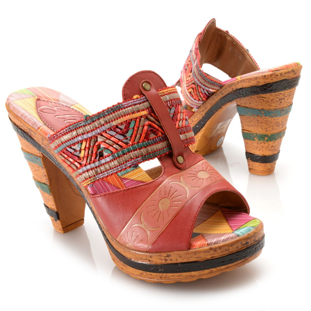 715-510 - Corkys Elite Hand-Painted Leather Slip-on Open Toe High Heel Sandals