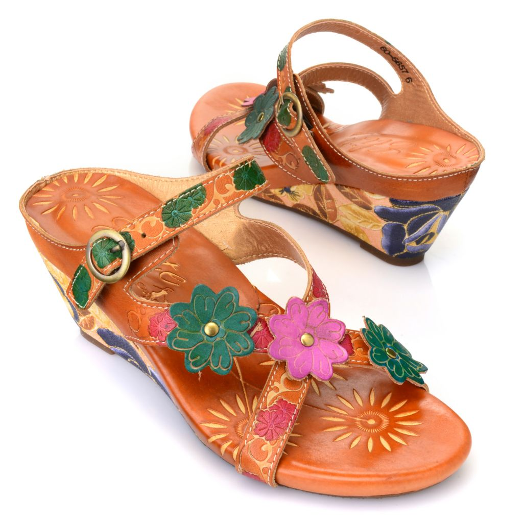 715-511 - Corkys Elite Hand-Painted Leather Crisscross Flower Design Wedge Sandals