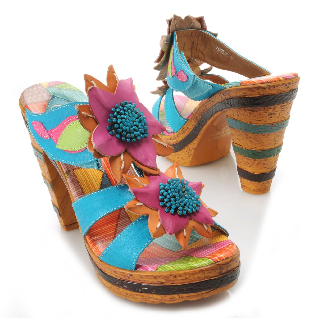 715-512 - Corkys Elite Hand-Painted Leather Open Toe Two-Flower Slip-on Sandals