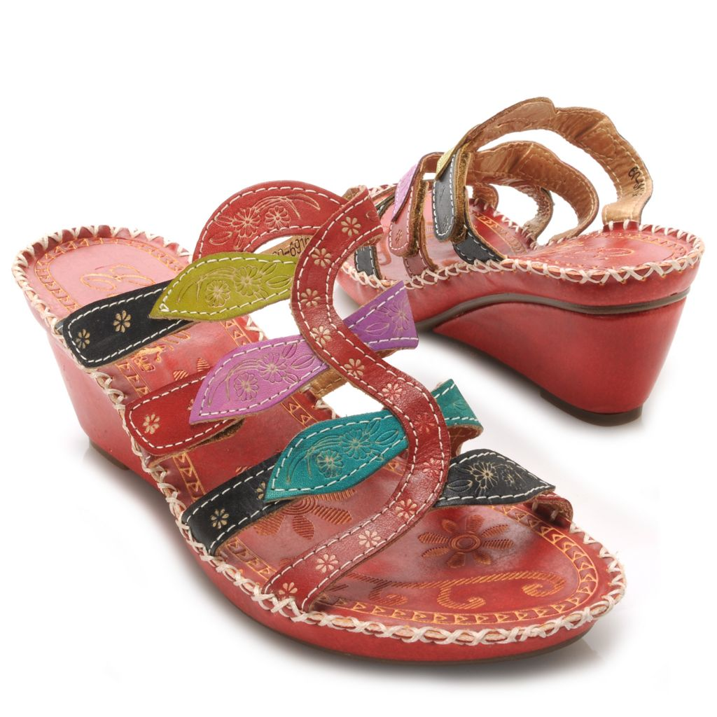 715-513 - Corkys Elite Hand-Painted Leather Slip-on Leaf Design Wedge Sandals