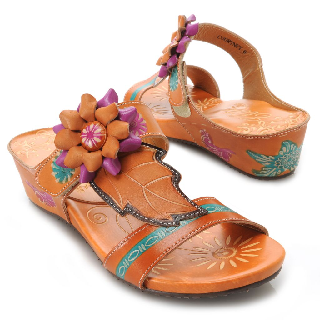 715-514 - Corkys Elite Hand-Painted Leather Flower & Leaf Design Slip-on Sandals