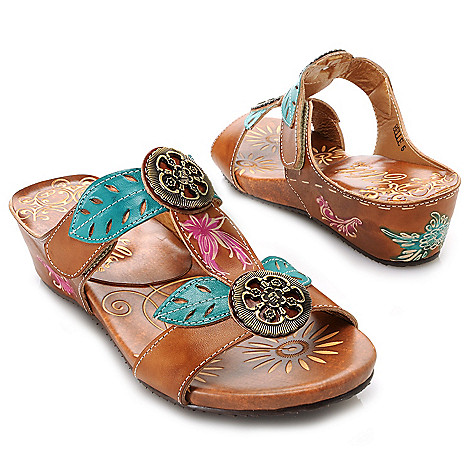 715-515 - Corkys Elite Hand-Painted Leather Floral Medallion Slip-on Sandals