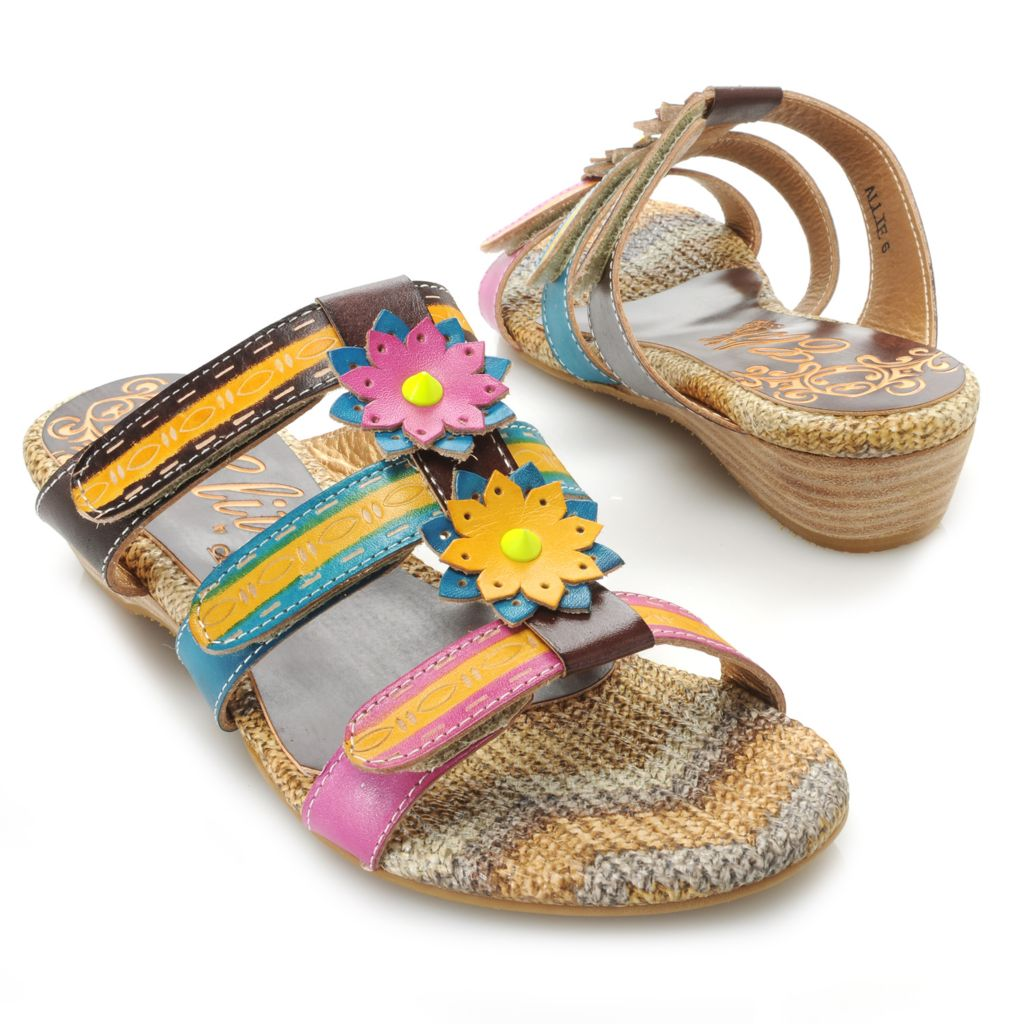 715-517 - Corkys Elite Hand-Painted Leather Adjustable Three-Strap Flower Sandals
