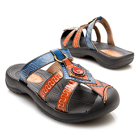 715-518 - Corkys Elite ''Pebble'' Hand-Painted Leather Slip-on Bump Toe Sandals