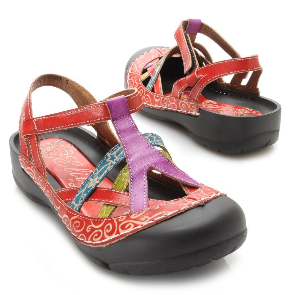 715-519 - Corkys Elite Leather Multi Color Bump Toe Sandals