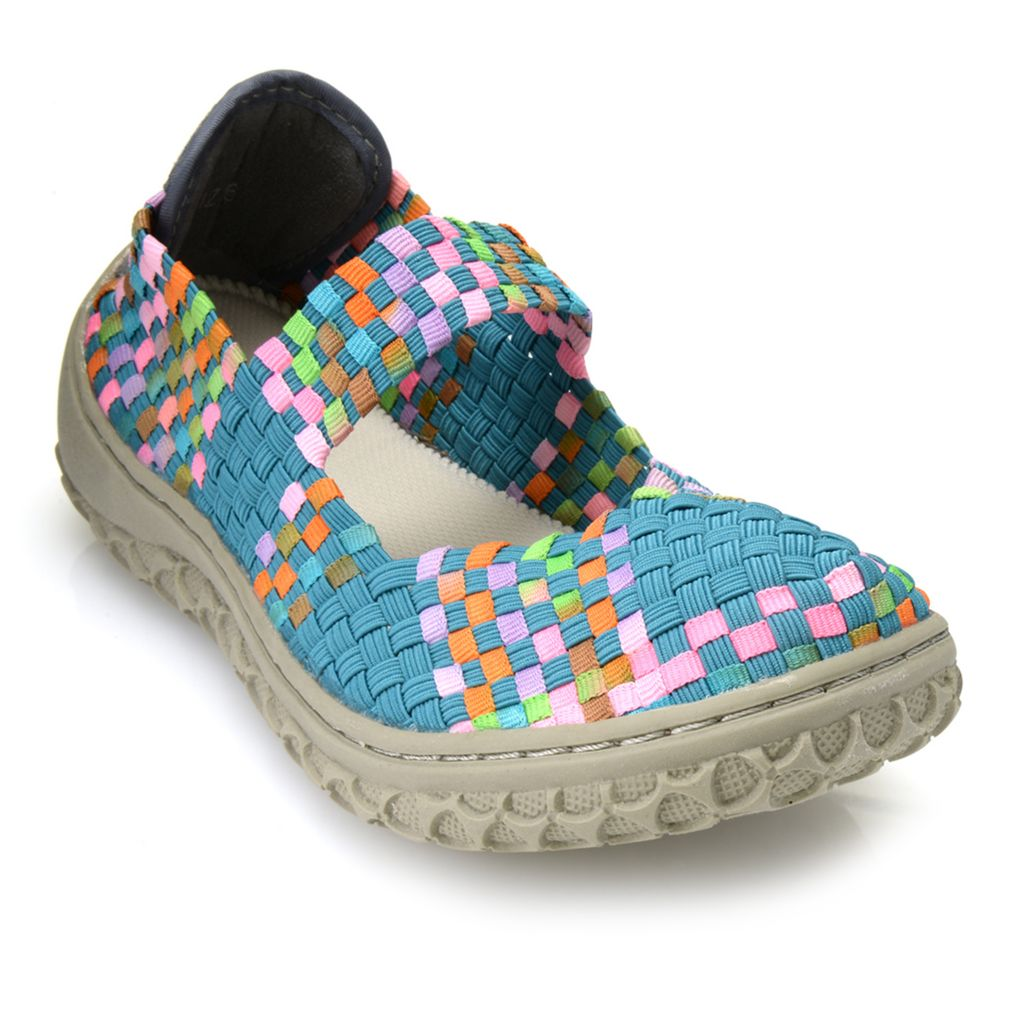 715-520 - Corkys Woven Elastic Memory Gel Closed Toe Mary Janes