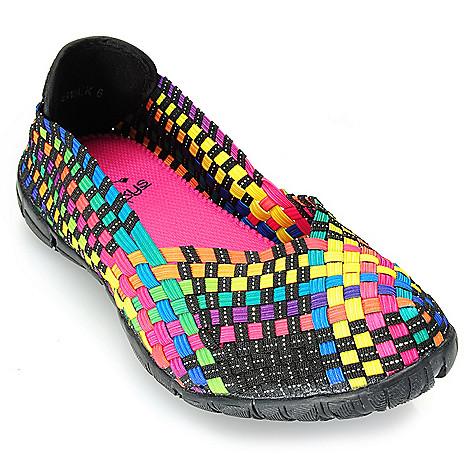 715-521 - Corkys Featherlite Woven Elastic Memory Gel Comfort Slip-on Flats