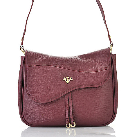 715-536 - PRIX DE DRESSAGE Pebbled Leather Flap Over Cross Body Saddle Bag