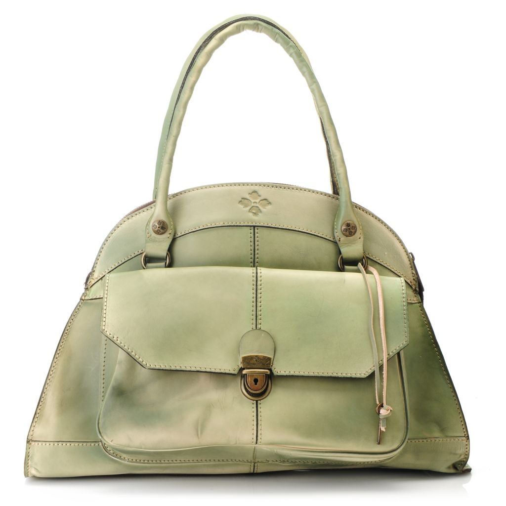 715-538 - Patricia Nash Leather Double Handle Zip Around Dome Satchel
