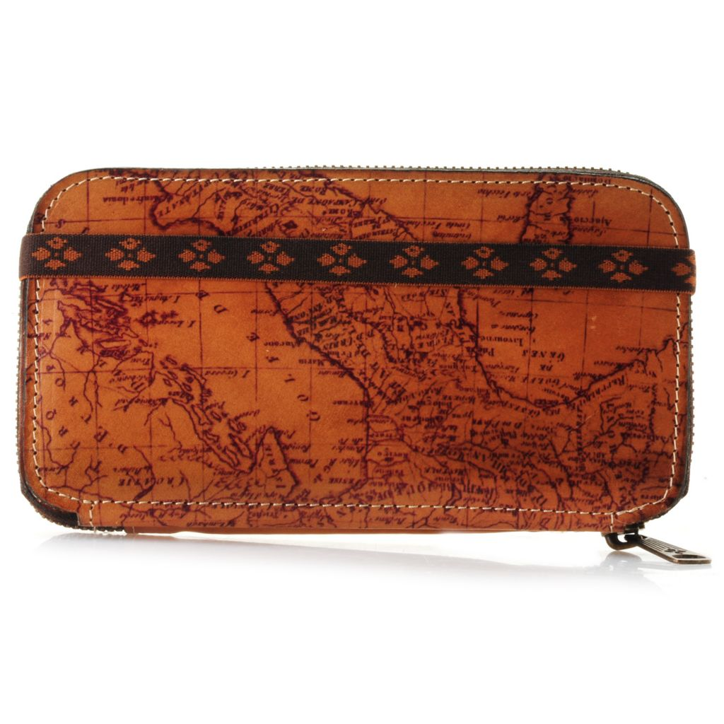 715-544 - Patricia Nash Leather Vintage-Style Map Design Zip Around Wallet