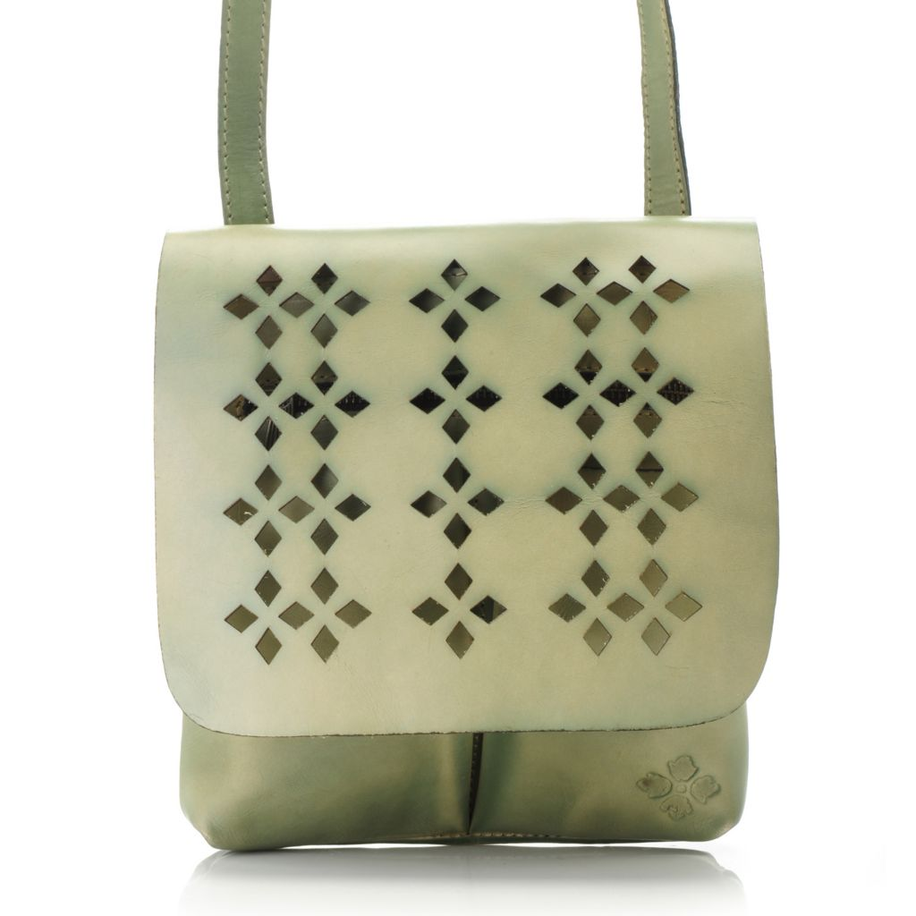 715-545 - Patricia Nash Perforated Leather Flap-over Cross Body Bag