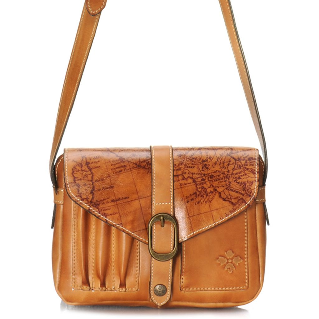 715-547 - Patricia Nash Leather Flap-over Vintage-Style Map Design Cross Body Bag