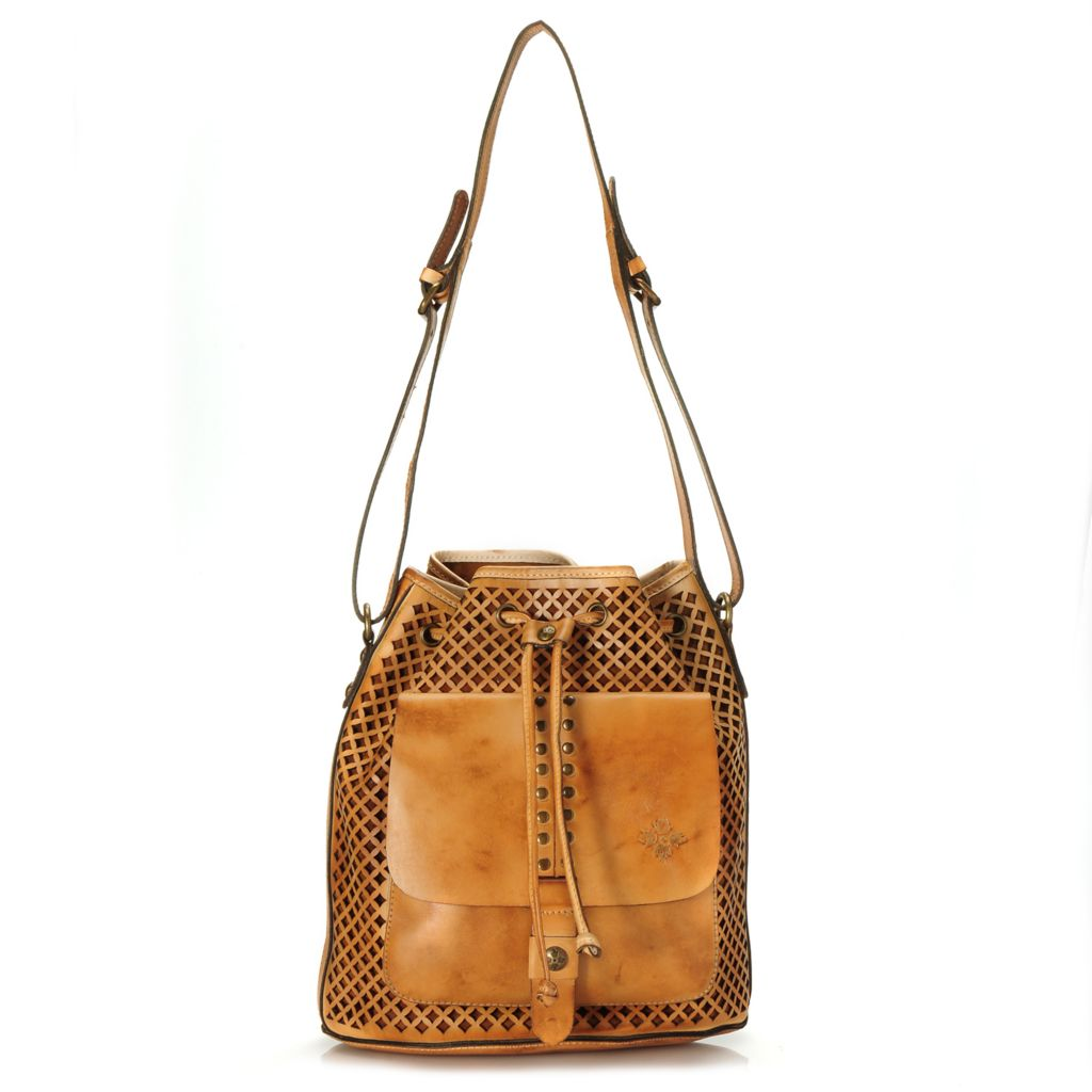 715-548 - Patricia Nash Perforated Leather Drawstring Bucket Bag