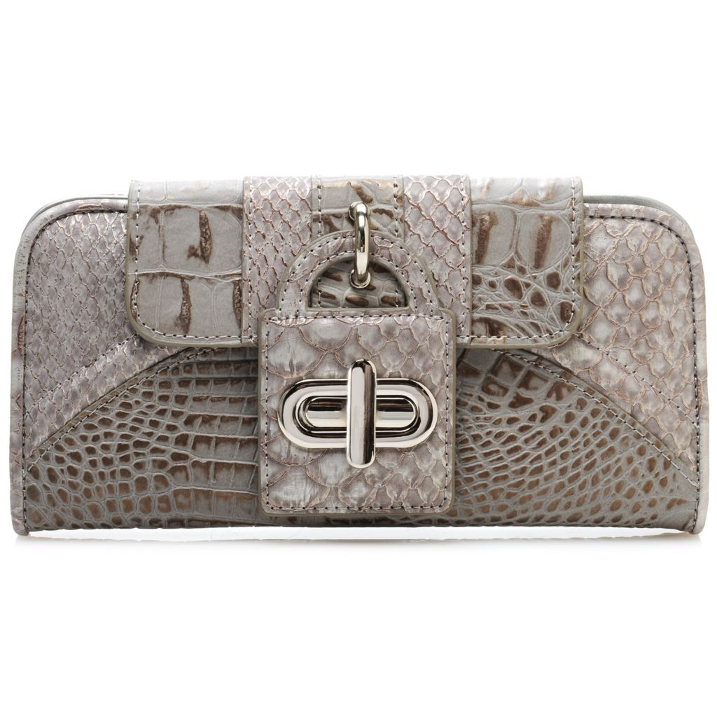 715-549 - Madi Claire Croco Embossed Pearlized Leather Turn Lock Wallet
