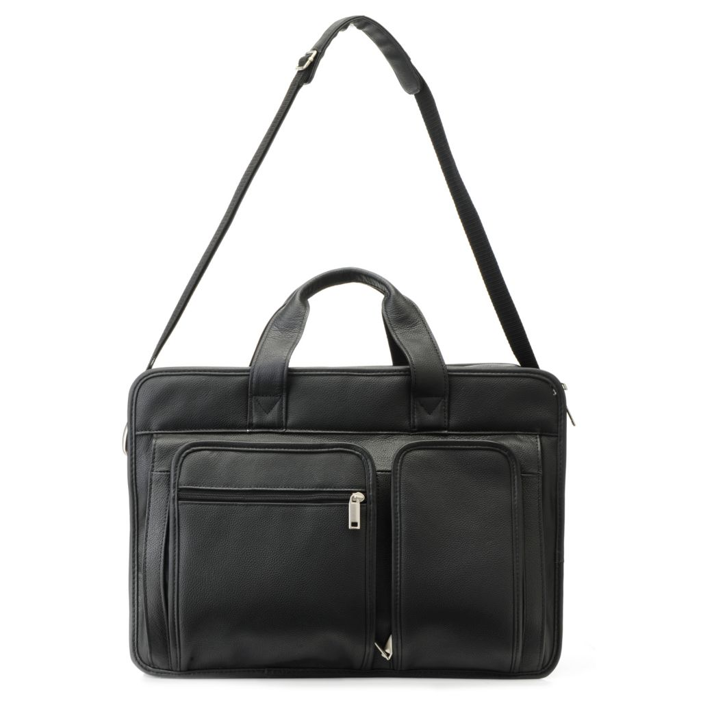 715-566 - Wilsons Leather Men's Expandable Double Handle Multi Compartment Briefcase w/ Strap