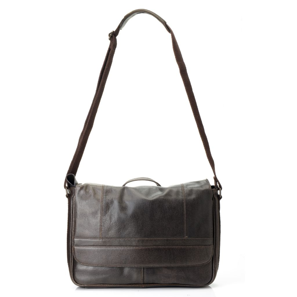 715-567 - Wilsons Leather Unisex Pebbled Flap Over Messenger Bag