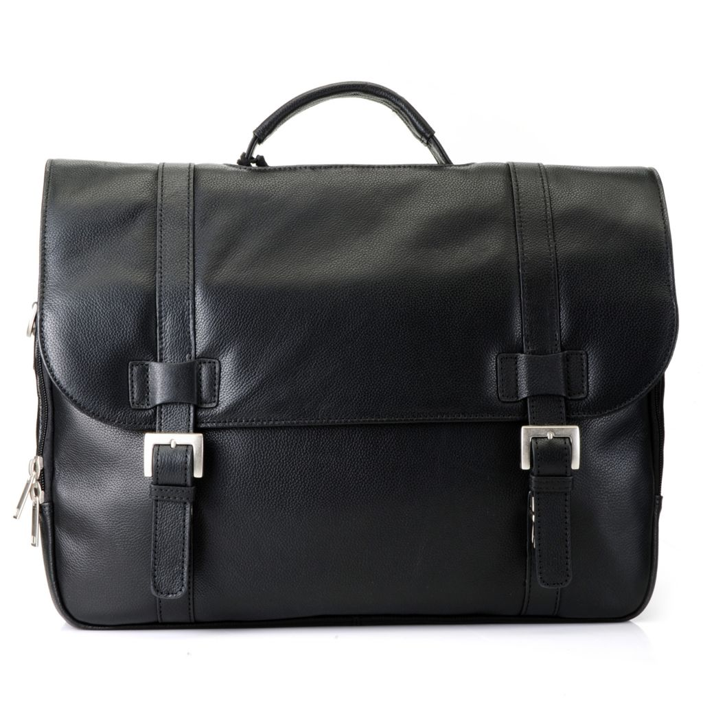 715-568 - Wilsons Leather Unisex Pebbled Flap-Over Belt & Buckle Detailed Briefcase w/ Strap