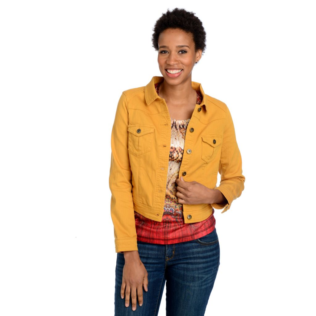 715-570 - One World Stretch Denim Long Sleeved Jacket & Studded Tee Shirt Set