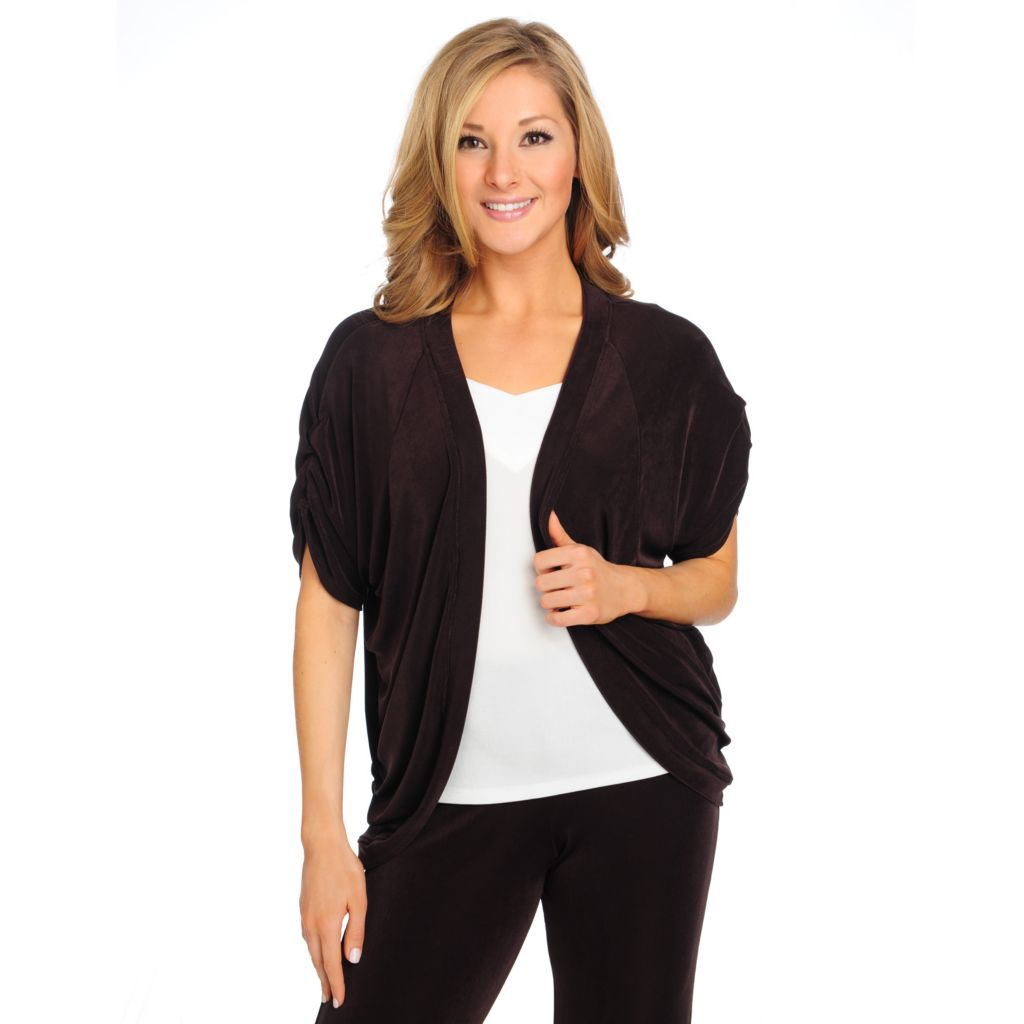 715-572 - Affinity for Knits™ Raglan Sleeved Ruched Detail Cocoon Cardigan