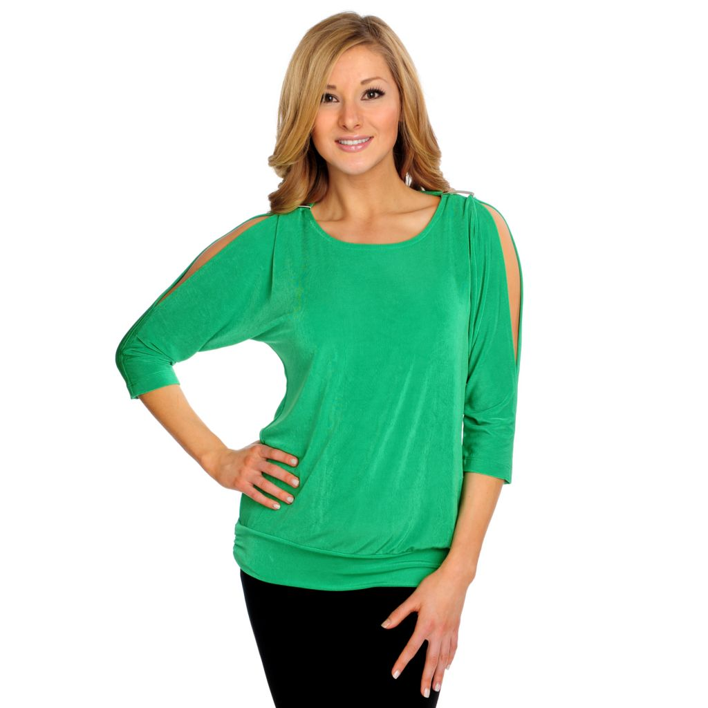 715-574 - Affinity for Knits™ Hardware Detailed Banded Bottom Cold Shoulder Top