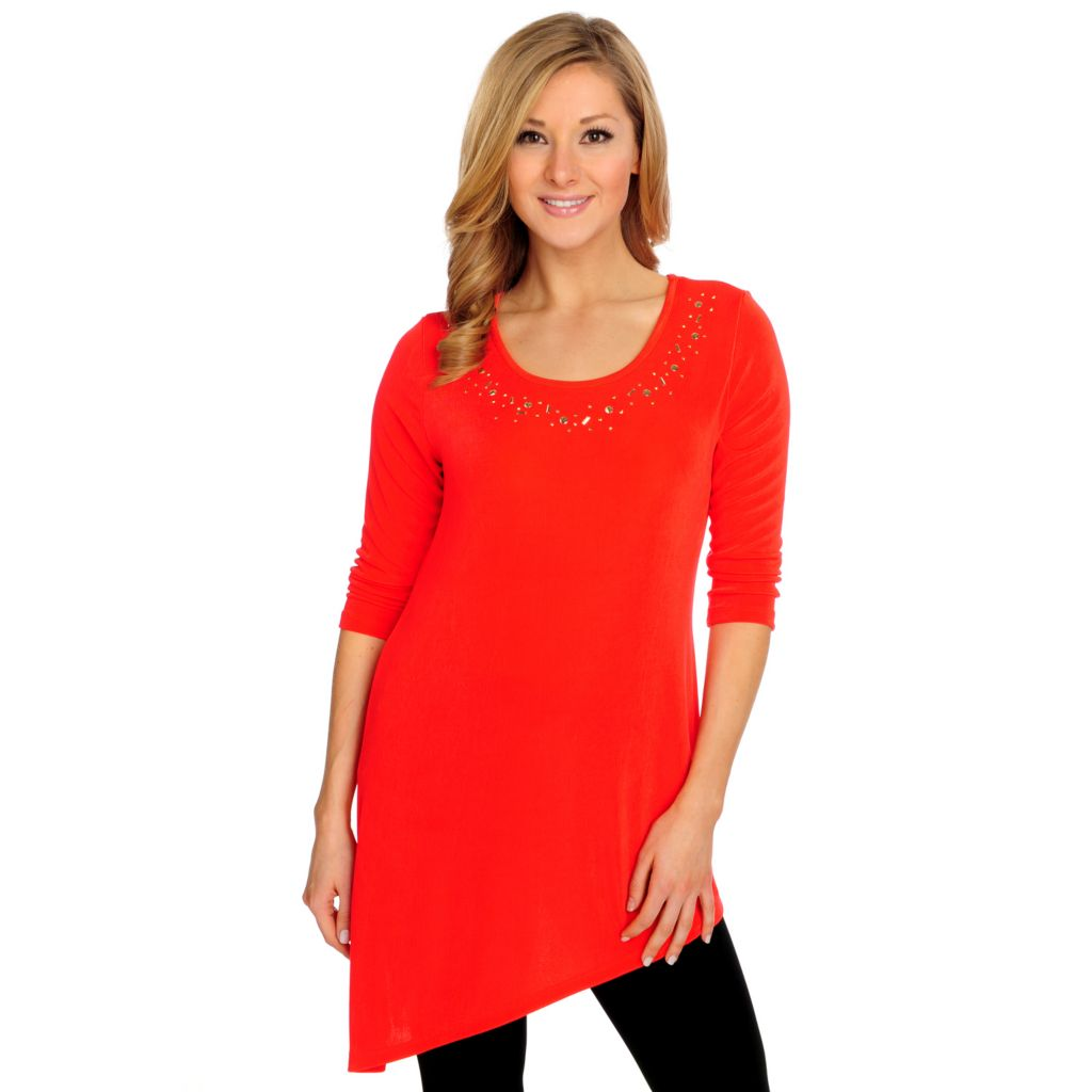 715-575 - Affinity for Knits™ 3/4 Sleeved Asymmetrical Hem Embellished Top