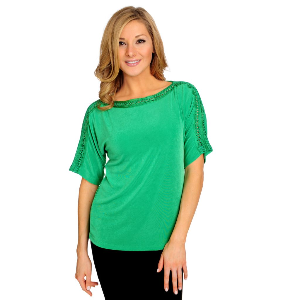 715-576 - Affinity for Knits™ Elbow Sleeved Lattice Trim Boat Neck Top