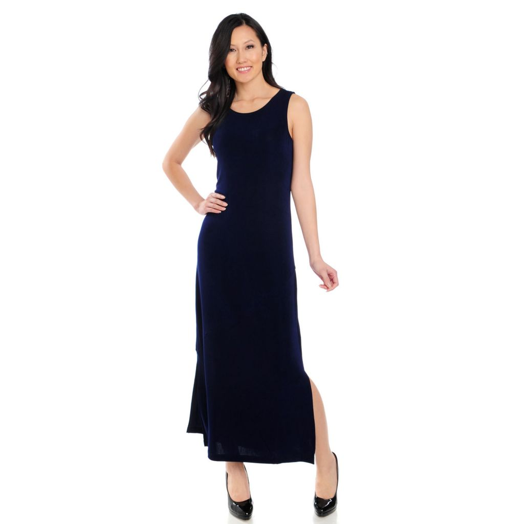 715-580 - Affinity for Knits™ Sleeveless Side Slit Pieced Maxi Dress