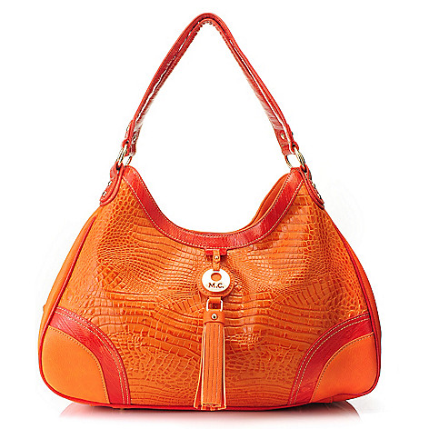 715-582 - Madi Claire ''Monica'' Croco & Snake Embossed Leather Multi Compartment Hobo Handbag
