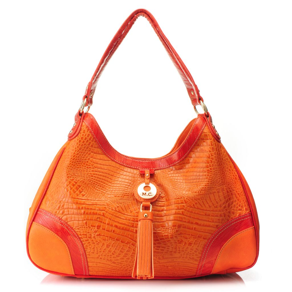 715-582 - Madi Claire Croco & Snake Embossed Leather Multi Compartment Hobo Handbag
