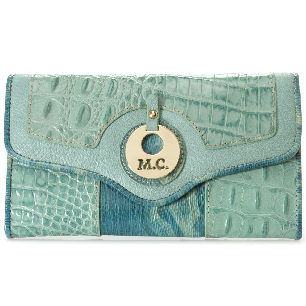 715-583 - Madi Claire Croco & Snake Embossed Leather Flap-over Wallet