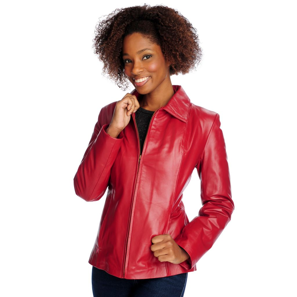 715-586 - Excelled Lamb Leather Long Sleeved Zip Front Scuba Jacket
