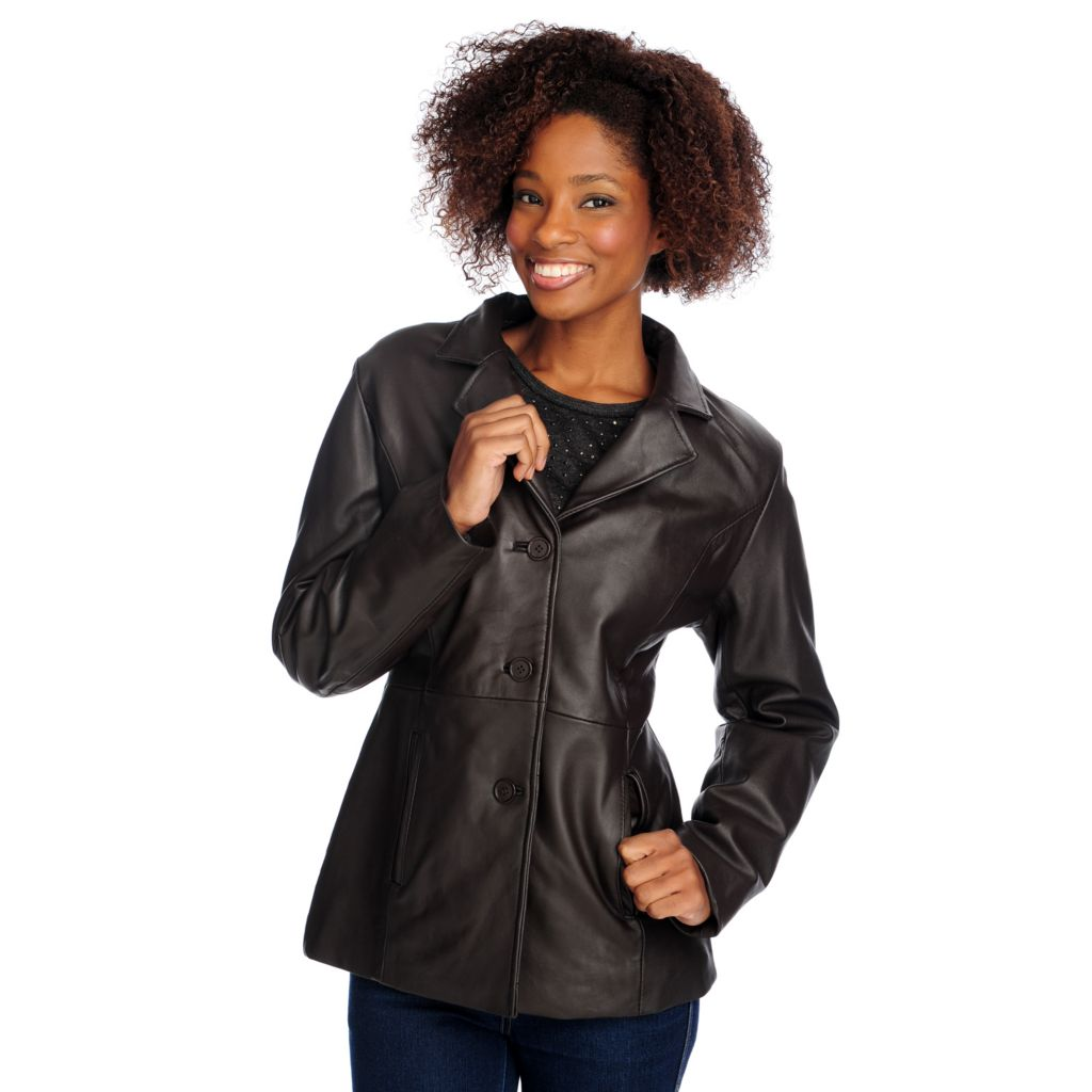 715-587 - Excelled Lamb Leather Long Sleeved Notch Collar 3-Button Jacket