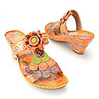 715-590 - Corkys Elite Hand-Painted Leather Slip-on Multi Color Flower Wedge Sandals
