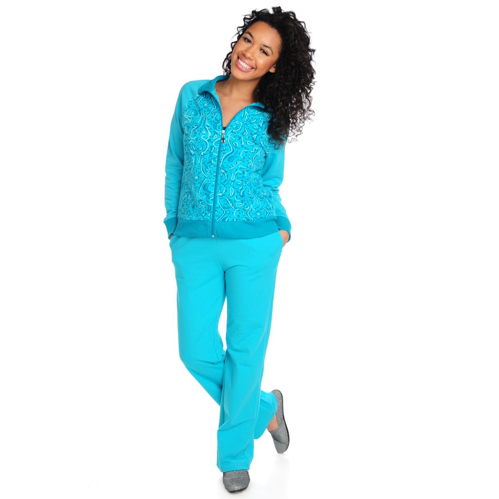 715-591 - OSO Casuals French Terry Raglan Sleeved Zip Front Printed Jacket & Pants Set