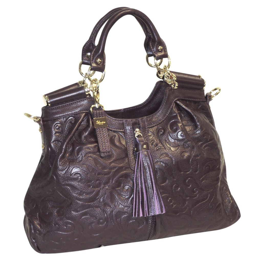 715-605 - Buxton® Swirl Embossed Leather Satchel