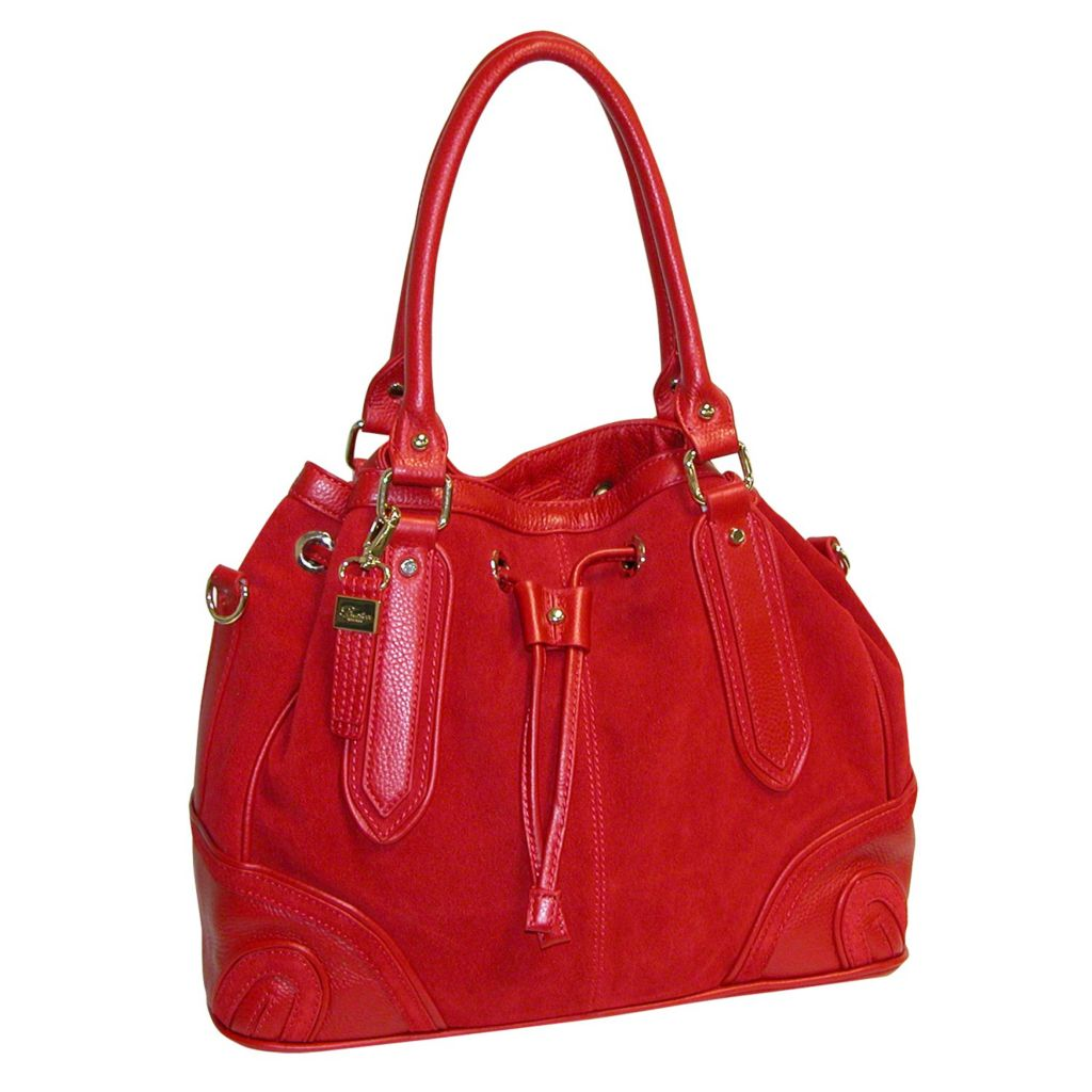 715-615 - Buxton® Suede Accent Leather Drawstring Tote