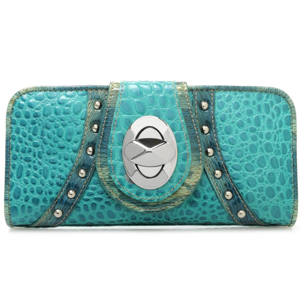 715-629 - Madi Claire Crocodile & Snake Embossed Leather Studded Turn Lock Tri-Fold Wallet