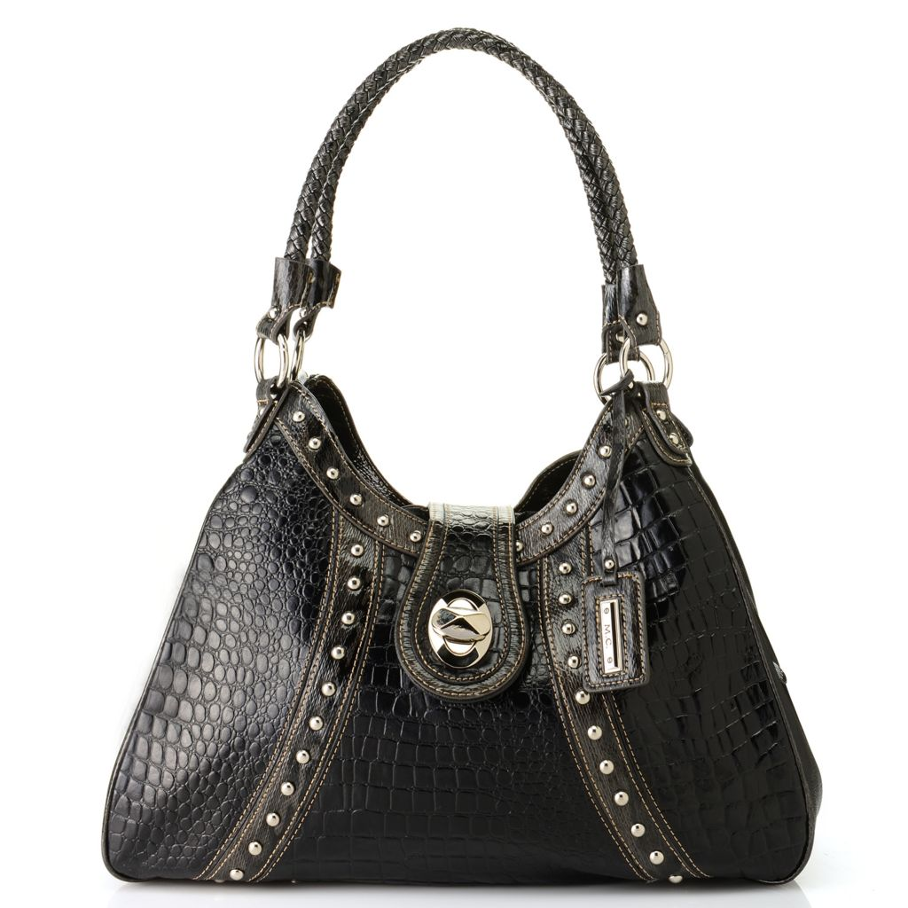 715-630 - Madi Claire Croco & Snake Embossed Leather Multi Compartment Shoulder Bag