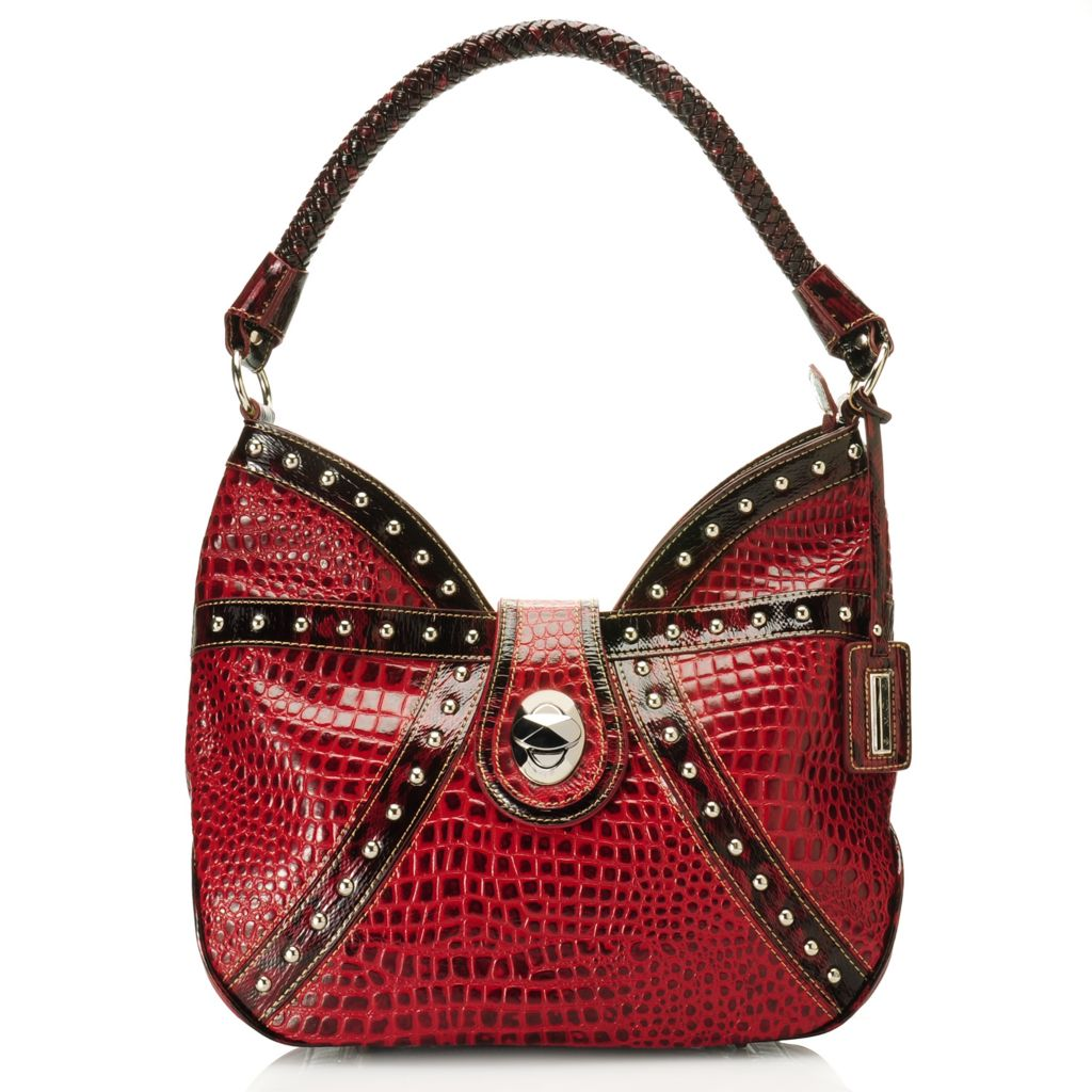 715-631 - Madi Claire Croco & Snake Embossed Leather Zip Top Woven Handle Hobo Handbag