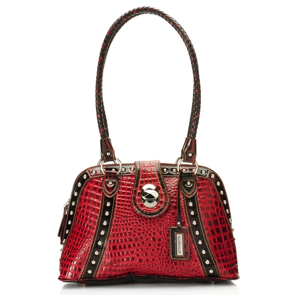 715-632 - Madi Claire Croco & Snake Embossed Leather Zip Around Double Handle Dome Satchel