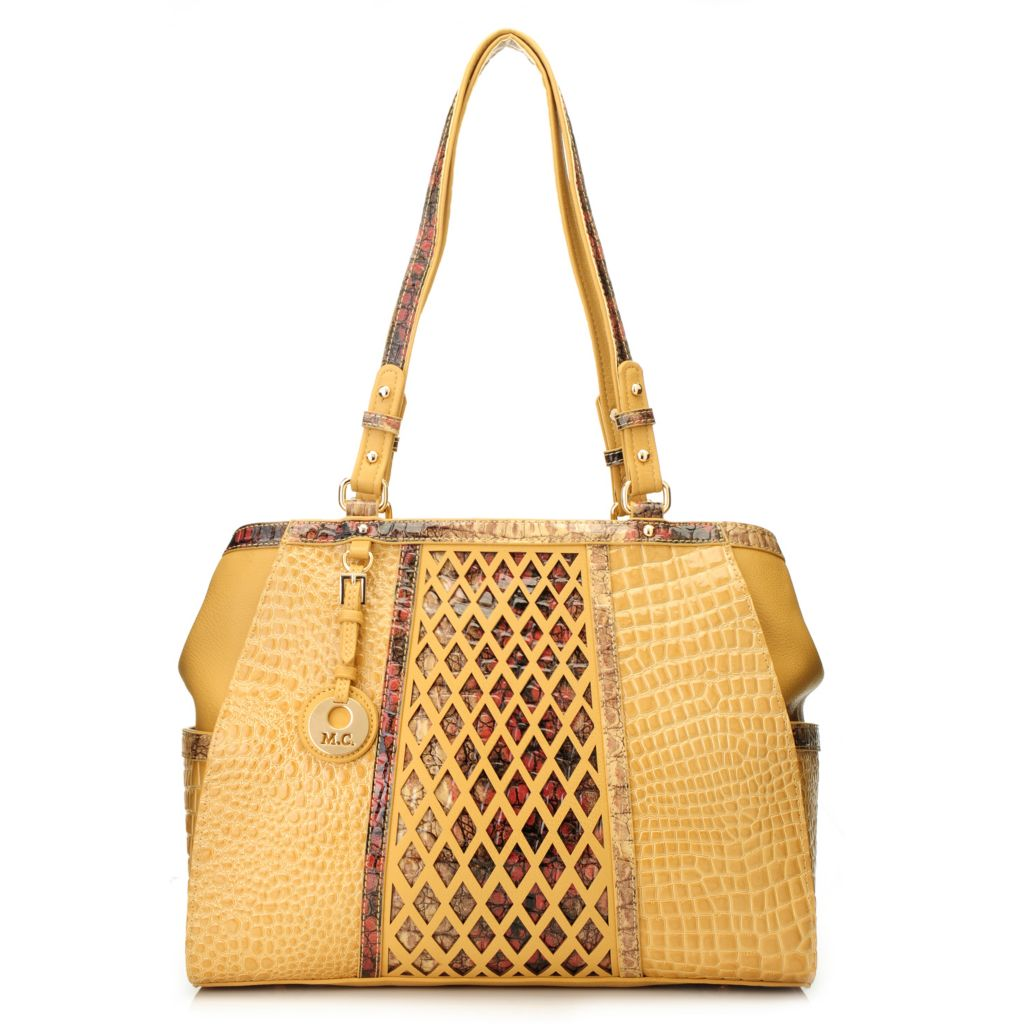 715-633 - Madi Claire Croco Embossed Leather Zip Top Lattice Design Tote Bag
